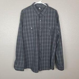 Rock & Republic Plaid Button Front LS Shirt XL